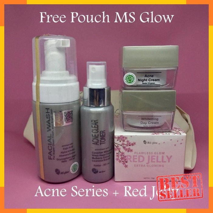 HOT Paket MS Glow Acne Series dan Red Jelly by Cantikskincare Original