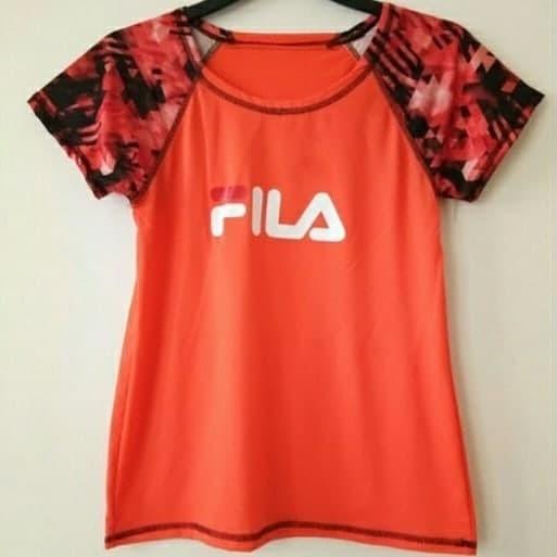 Baju FILA Atasan Olahraga Sport Zumba Fitness Gym Yoga Wanita Orange