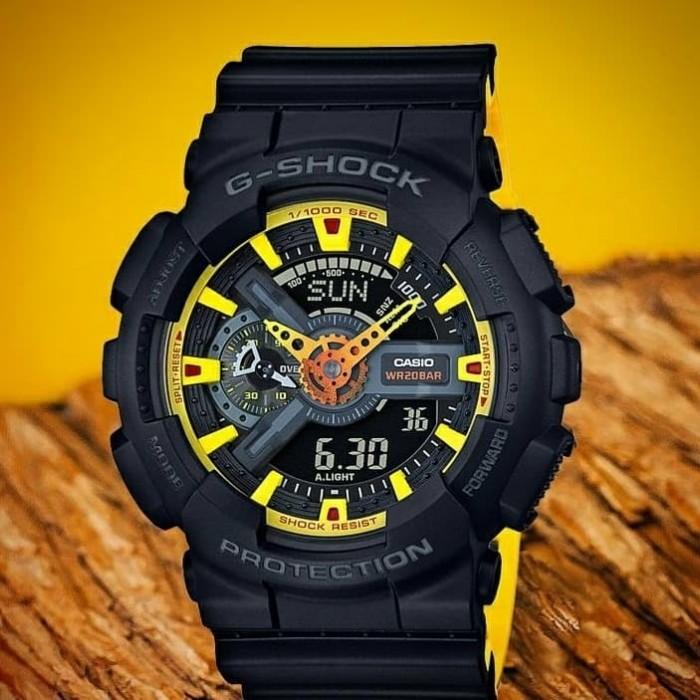 Jual Jam Tangan Pria Casio G-Shock GA-110 Black Combi Yellow ORI BM ... 0cbd3564ce