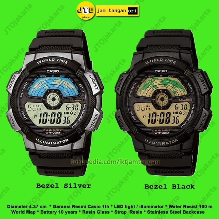 Jam Tangan Casio Original Pria Sport AE 1100W 1A AE1100W 1B Garansi - Bezel Black