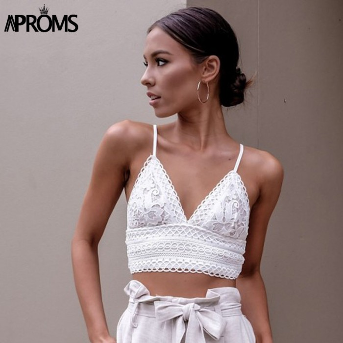 Aproms White Lace Crochet Camisole Cami Women Summer Backless Bow