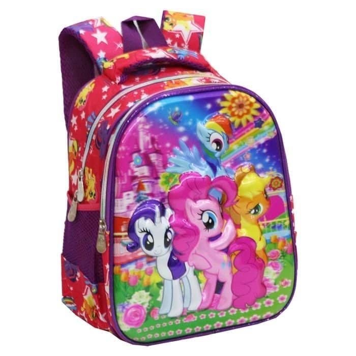 ... Tas Anak Sekolah Ransel TK Import My Little Pony Pelangi 5D Timbul H