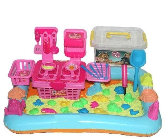 Pasir Kinetik 2Kg Play Magic Sand Kitchen Set Pasir Ajaib Mainan Anak.