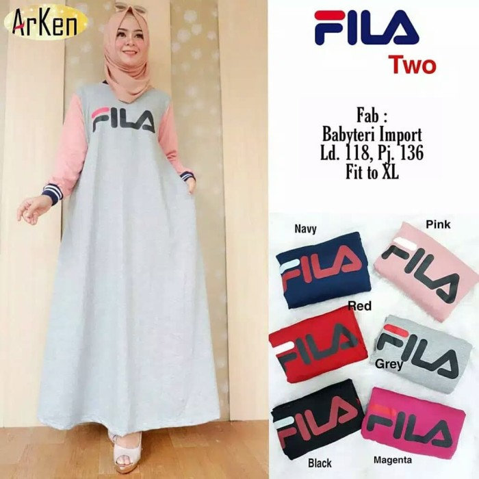 Jual Fila Two Dress Sport Gamis Kaos Combed Mika Onlineshop
