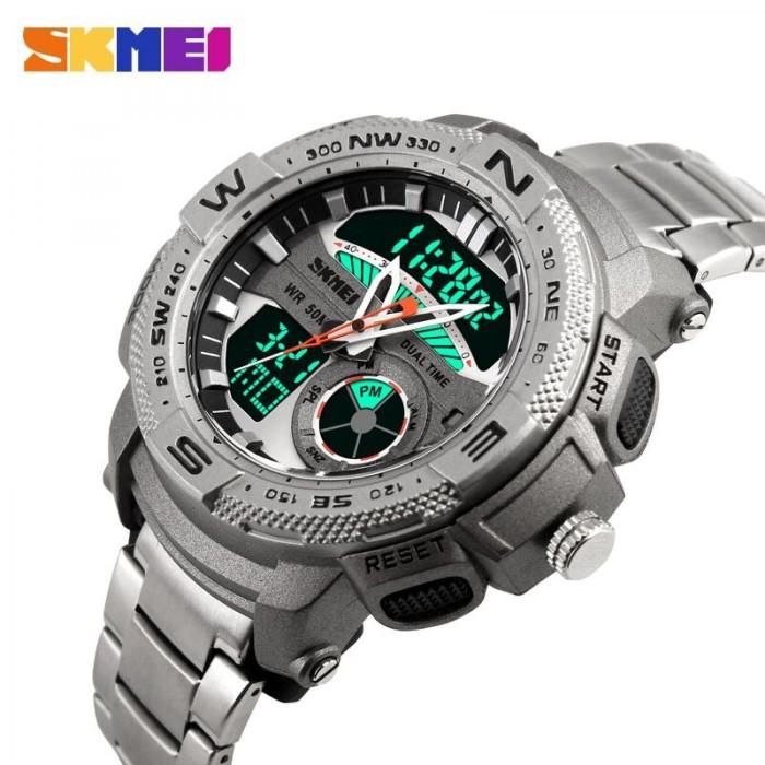 A112 Jam Tangan Pria Dual Time SKMEI Men Stainless Sport LED Original -