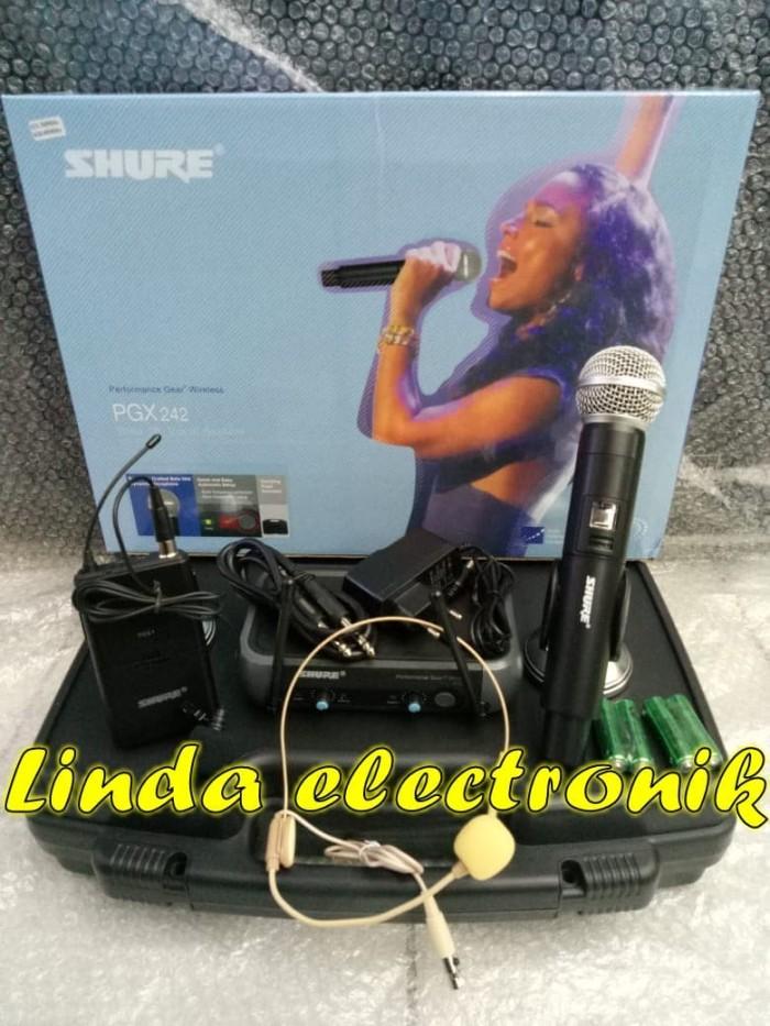 harga Mic wireless shure pgx 242 (pegang+clip on+headset) Tokopedia.com