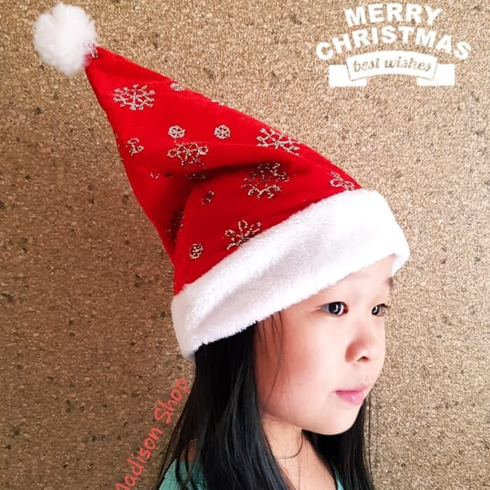 Hiasan natal/ pohon natal/ baju natal topi natal snowflake silver gold