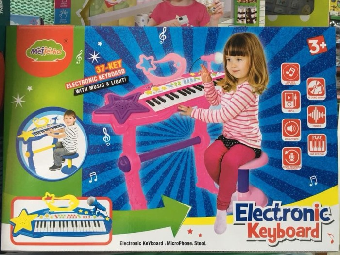 Electronic keyboard pink bo-27a - mainan musical keyboard