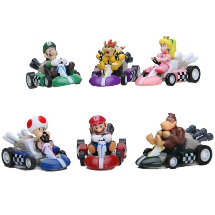 6pcs//set Super Mario Mini Kart Pull Back Cars Figure Toys for Kids