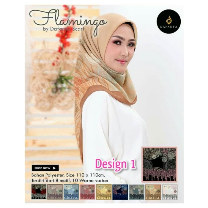 Jual Grosir Jilbab Segiempat Motif Flamingo Dafanya Hijab Grosir