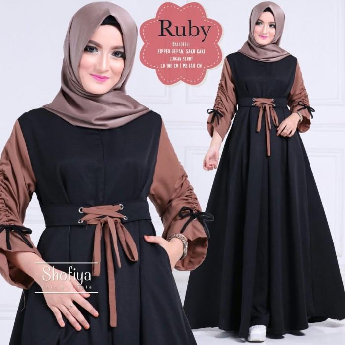 Jual Baju Muslim Ruby Dress Black Grosir Busana Muslim Kota Bandung By Gamis Tokopedia