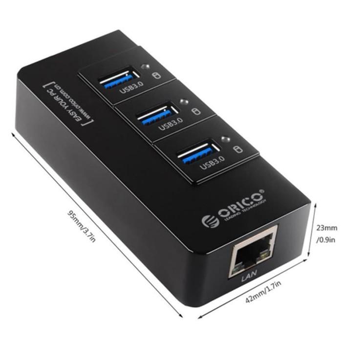 Orico HR01-U3 Portable 3 Port USB 3.0 HUB with 1 RJ45 - Berkualitas