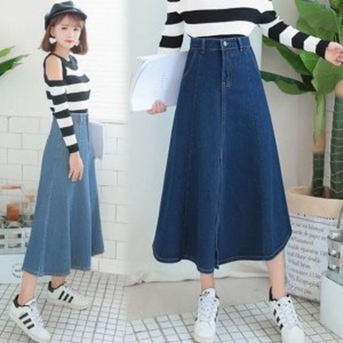 5d950e0ebc6e92 EXTREME SALE Crystal Denim Skirt 6089 Rok Panjang Rok d Berkualitas