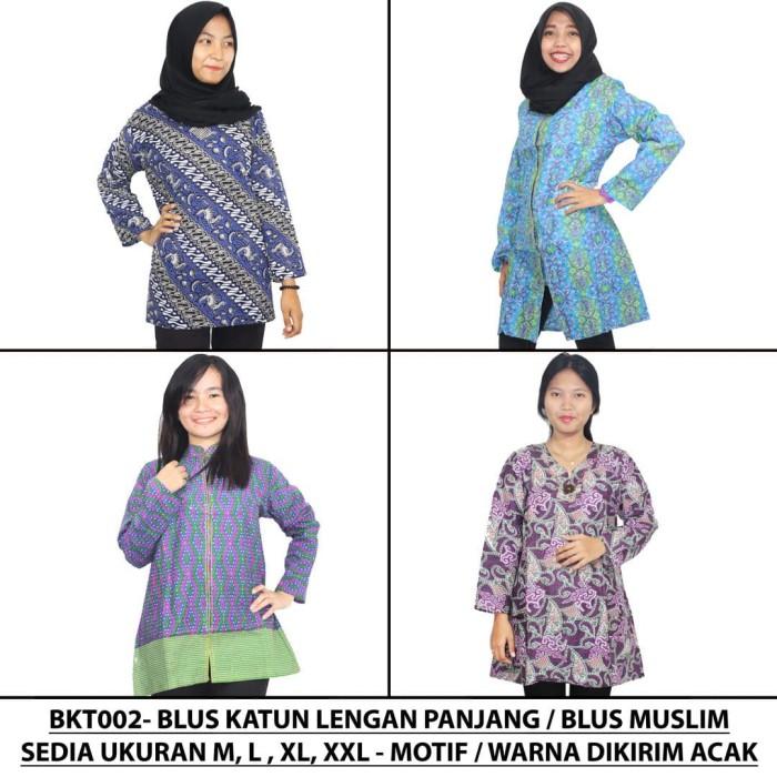 harga Blus katun lengan panjang / blus muslim batik print (bkt002) - ukuran xl Tokopedia.com