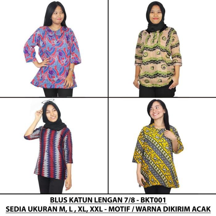harga Blus katun lengan 7/8 / blus batik wanita / blus kantor (bkt001-01) - ukuran m Tokopedia.com