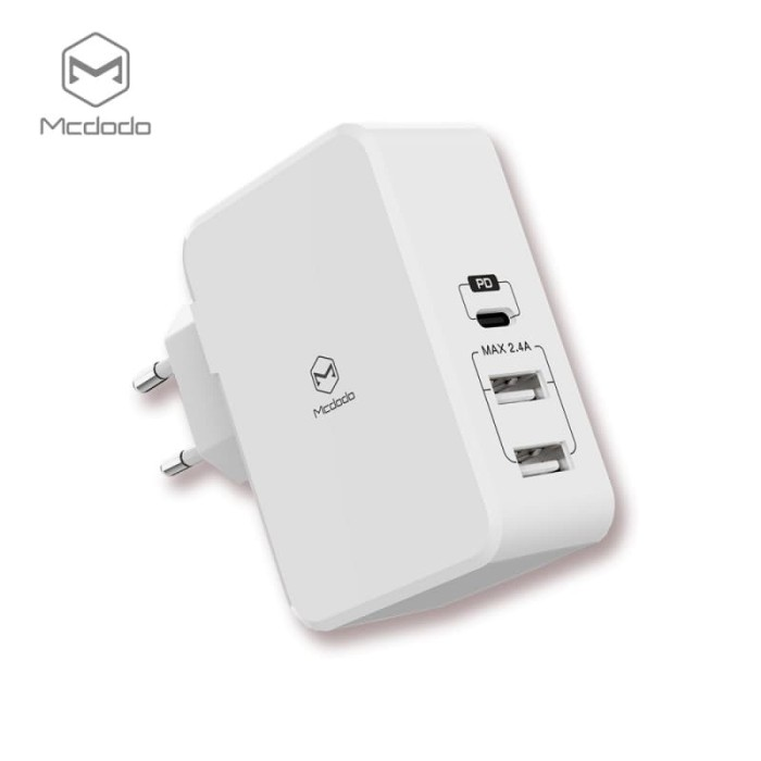 harga Mcdodo Travel Adaptor Charger Quick Charge With Pd Dual Usb Port & Type-c Port 14w Blanja.com