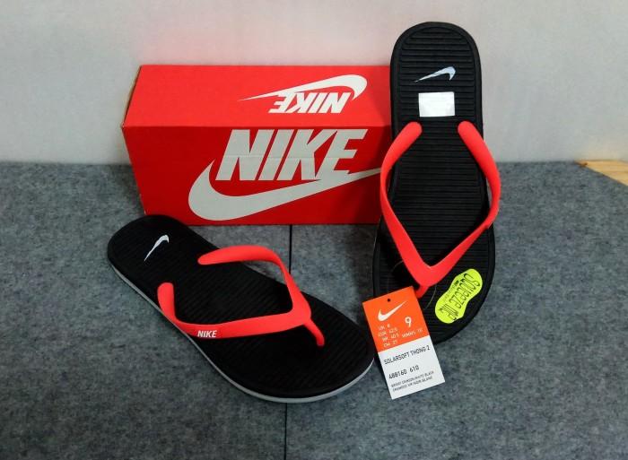 Sandal Jepit NIKE SOLARSOFT THONG 2 (488160-610) RED BLACK - ORIGINAL -  Merah ec2f607e93