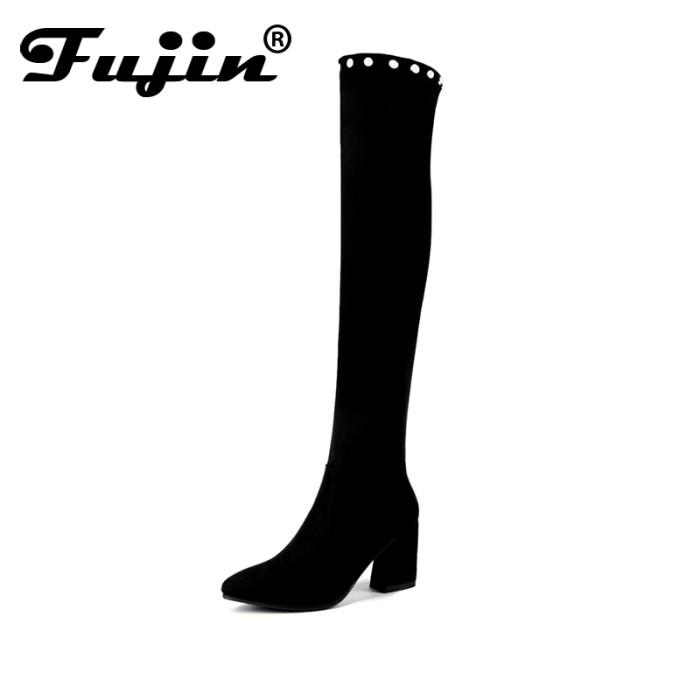 RSM Sepatu Hels Wanita -Black- S265. Source · Terbatas Fujin 2018 Over The  Knee Boots Winter Round Toe Warm Women Bo 202a66fa37