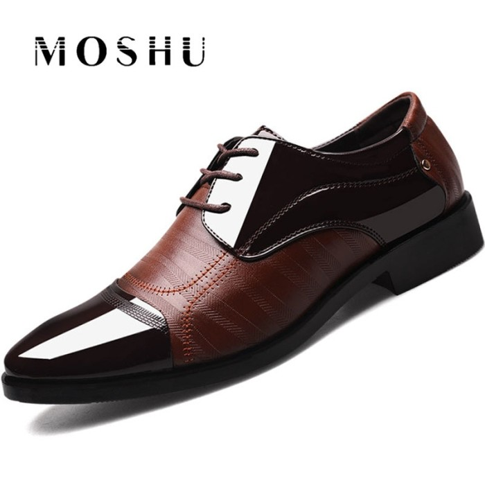 Diskon Spring Autumn Men Dress Shoes Oxford Business Lace Up Forma