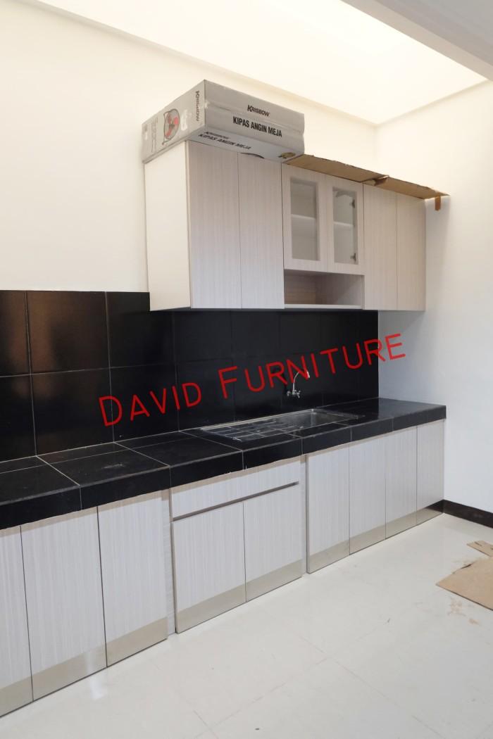 Jual Kitchen Set Minimalis Dengan Plat Stainless Pintu Kaca Jakarta Timur David Furniture Tokopedia