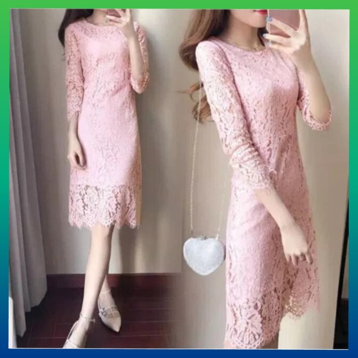Jual Baju Pesta Natal Gaun Wanita Dress Code Brukat Maxy Rok Maxi