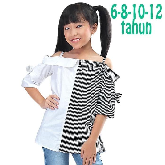 Hot Promo Baju Sabrina Anak Katun Hitam Putih Branded Original 6 8 10