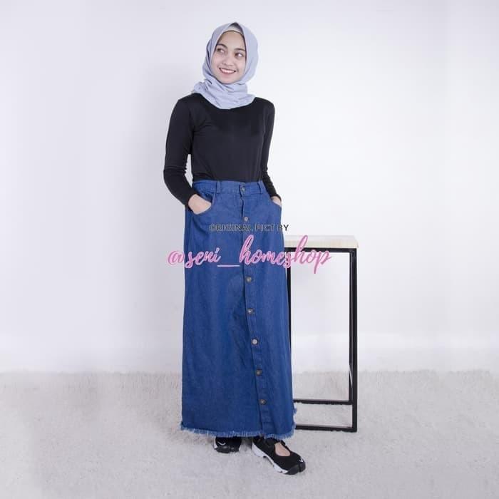 27 Rok murah Jeans wanita Bawahan muslimah casual Button Up skrit