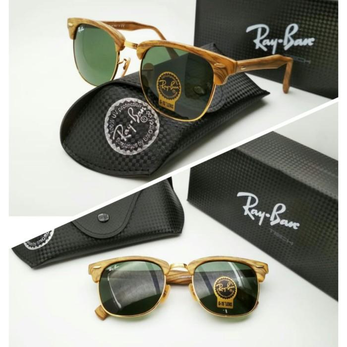 kacamata Rayban clubmaster Wood kayu green super premium