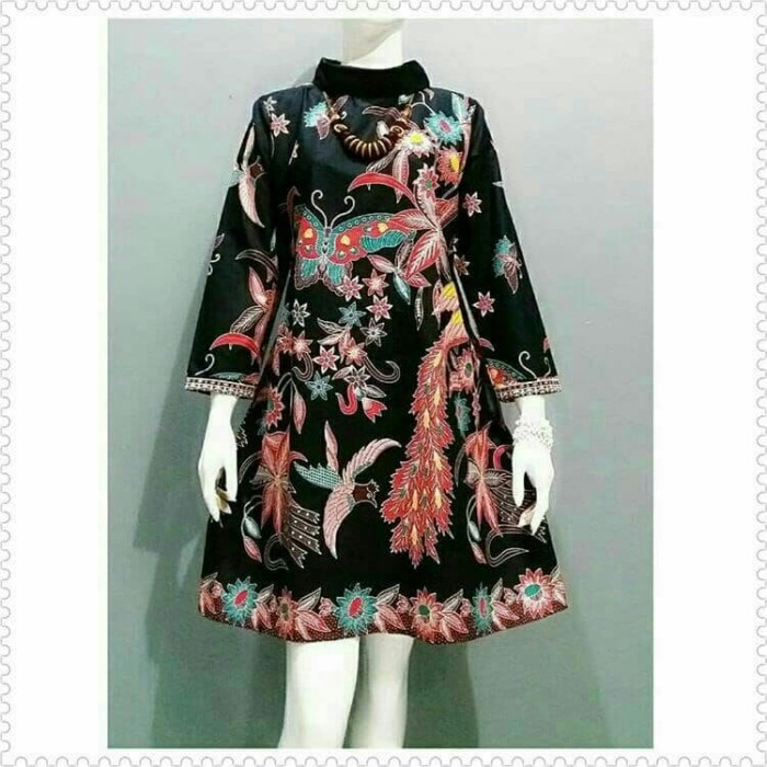 Atasan Wanita Tunik Batik Dress Baju Batik Wanita Modern Seragam Batik f23cb09ec5