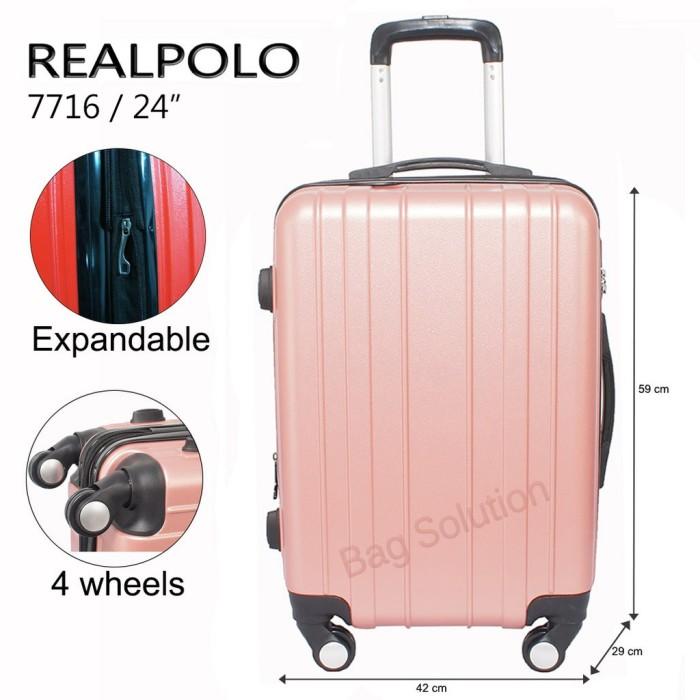 Real Polo Tas Koper Hardcase Fiber - ABS 4 Roda Putar - GGAF Size 24