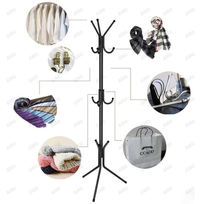 Stand Hanger Serbaguna Gantungan Baju Topi Jaket Tas Serbaguna - Putih
