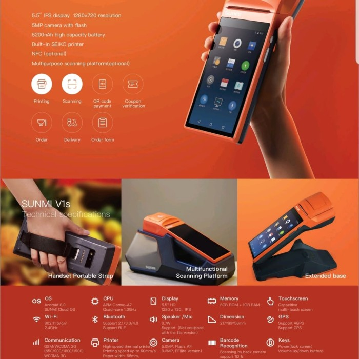 Jual Sunmi V1s NFC Portable Android POS Thermal Bluetooth Printer Phone 3G  - Orange - Jakarta Barat - Juragantablet   Tokopedia