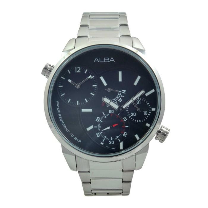 Jam tangan pria original alba a2a003 silver black