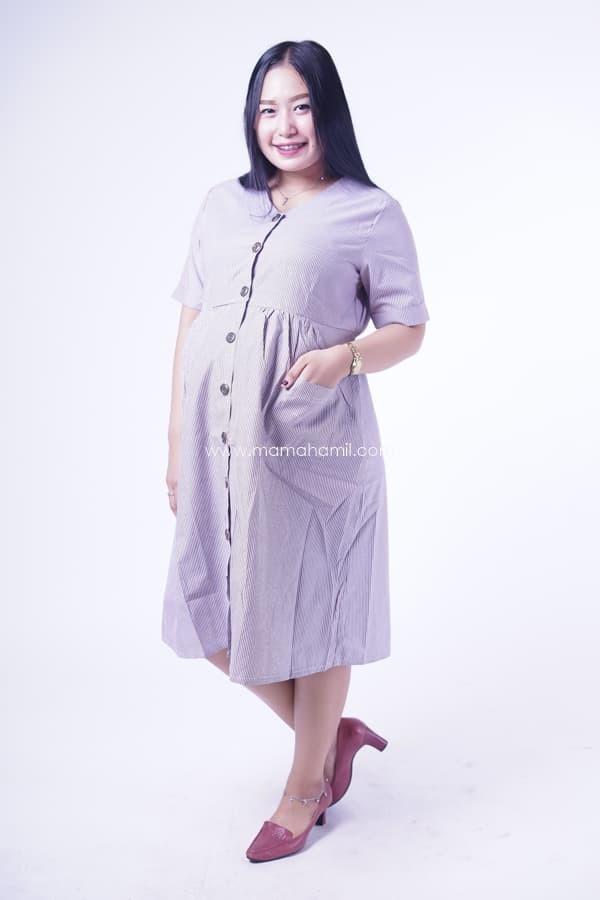 Jual Dress Ibu Hamil Menyusui Salur Full Kancing Japan Terbaru - DRO ... 2d43a181e4