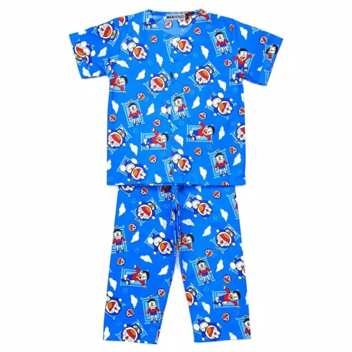 baju tidur piyama anak umur 1-9 tahun motif doraemon