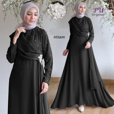 Jual 6189 Baju Pesta Wanita Muslimah Black Dress Hitam Anggun