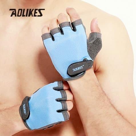 harga Aolikes 112 half finger weight lifting gym fitness glove - blue Tokopedia.com