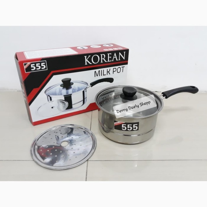 Sauce pan - panci kukus steamer - panci susu korean 555 milk pot 18 cm