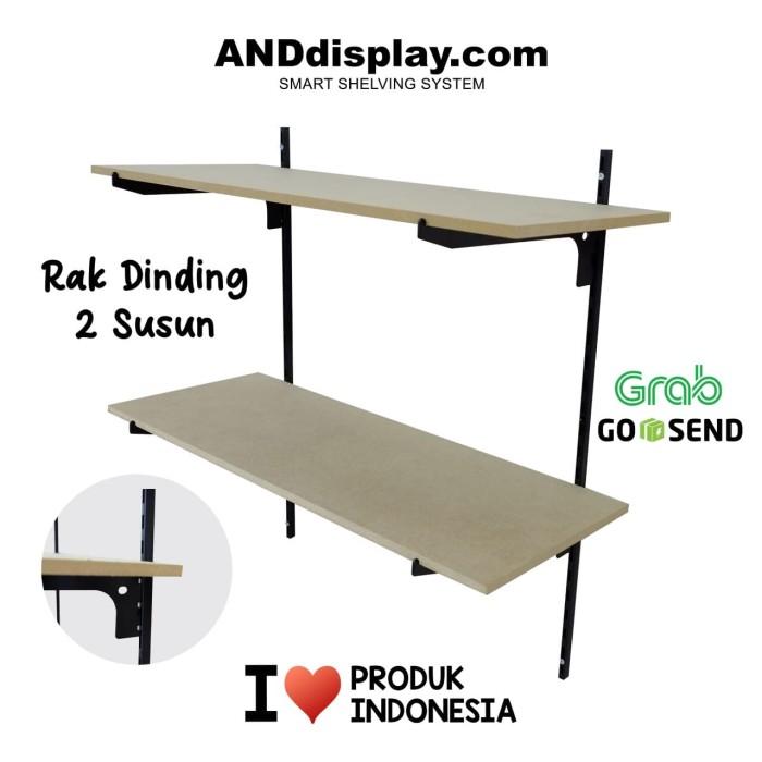 harga Rak dinding tiang bracket besi dekorasi pajangan ambalan kayu 2 susun Tokopedia.com
