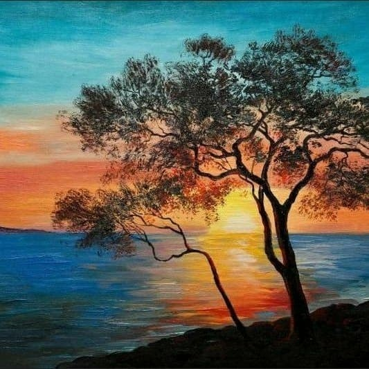 Jual Lukisan Senja Yang Indah Kab Klungkung Handmade Painting