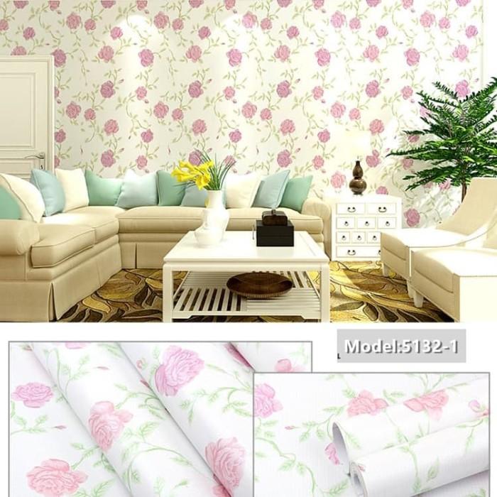 Jual wallpaper dinding bunga mawar pink 5132 DKI Jakarta jitoped