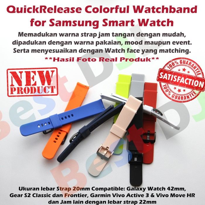harga Strap 20mm samsung galaxy watch 42mm s2 garmin vivoactive vivomove Tokopedia.com