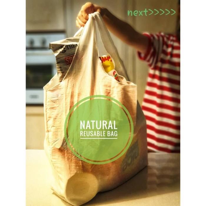 Foto Produk tas Jumbo Natural Reusable Bag baggu blacu dari Toko Brukat