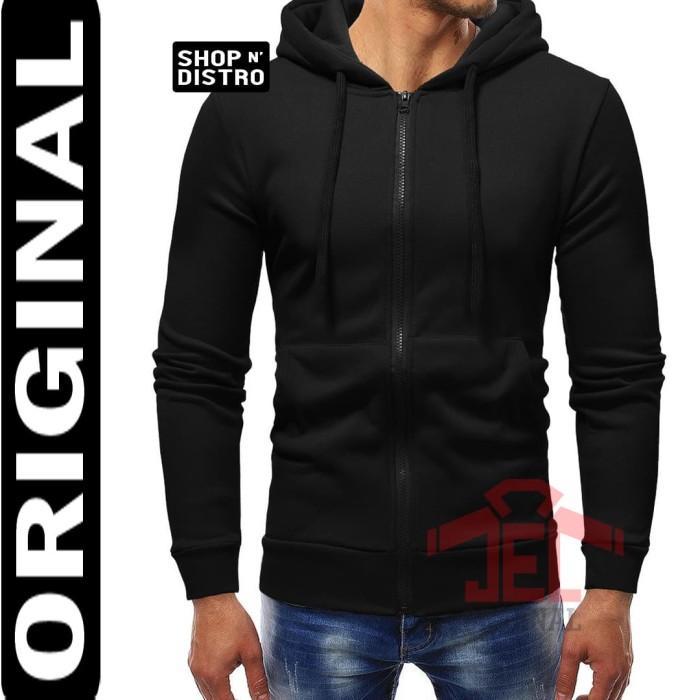 Sweater Hoodie Zipper Polos Original Full Premium / Jaket Switer - Hitam, XL