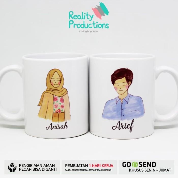 harga Mug couple doodle pengantin hijab cantik 2 untuk kado pernikahan Tokopedia.com