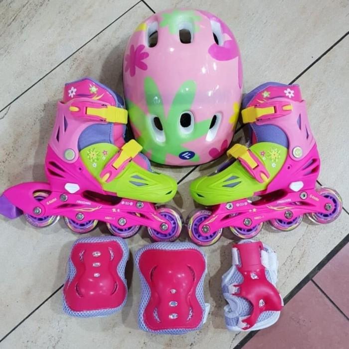 sepatu roda inline skate fullset + dekker (protektor + helm) d44be2feba