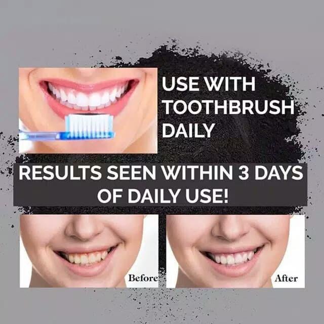Charcoal teeth whitening powder 100% natural import - Pemutih gigi