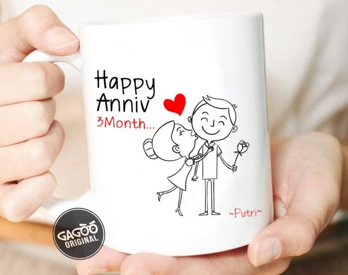 Sablon cetak mug custom satuan premium / kado unik romantis - anniv 3 - putih
