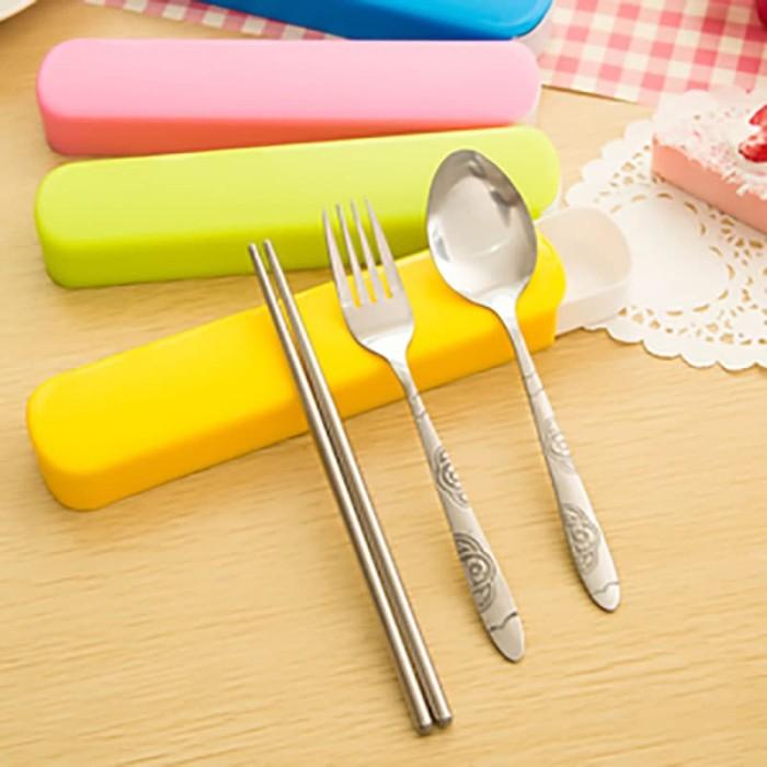 Sendok Garpu Sumpit Portable Travel Stainless - Slide Portable Cutlery - Biru