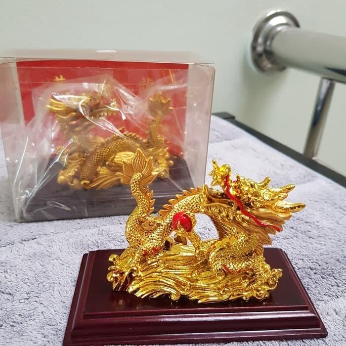 Jual Pajangan Patung Naga Dragon Lapis Emas 24 K Karat Hiasan Ubs Lm